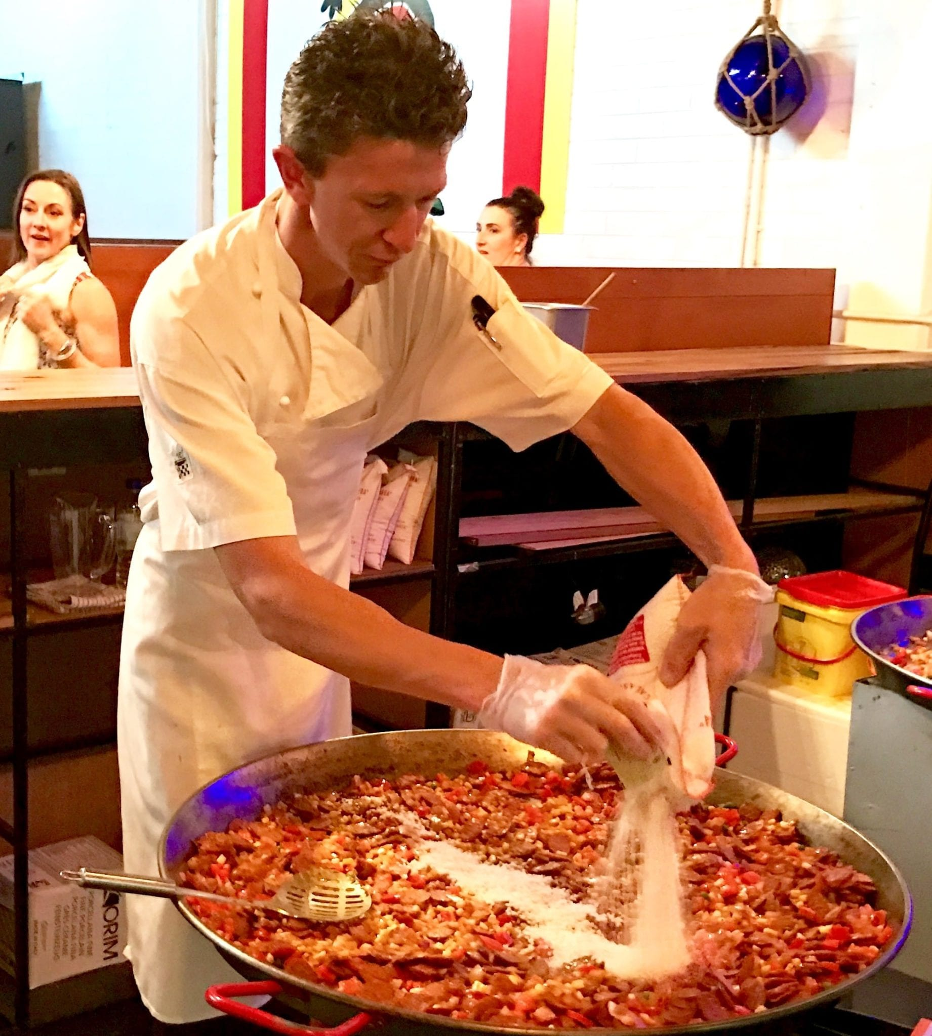 Chef, Stewart preparing Paella