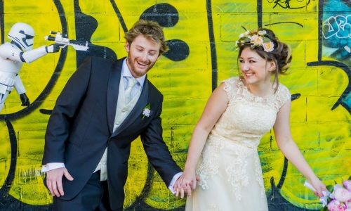 Candid storm trooper wedding photo