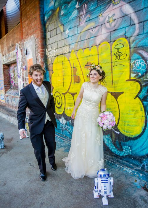 R2D2 candid bride and groom photo